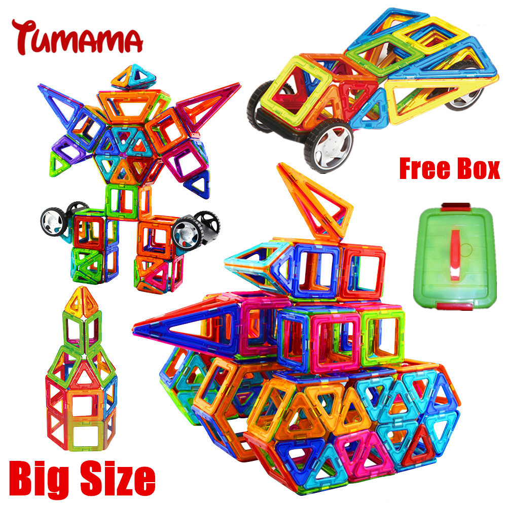 Tumama Big Size Magnetic Building Blocks 76PCS Sets Building Magnetic Designer DIY 3D Brick Education Learning Toys For Children