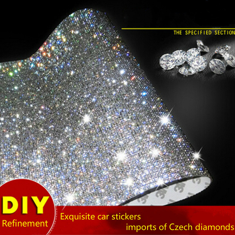 A&P 39CM Crystals Rhinestones Cover Sticker Car Decor Decal Styling Accessories Mobile/pc Art Diamond Self Adhesive Stickers