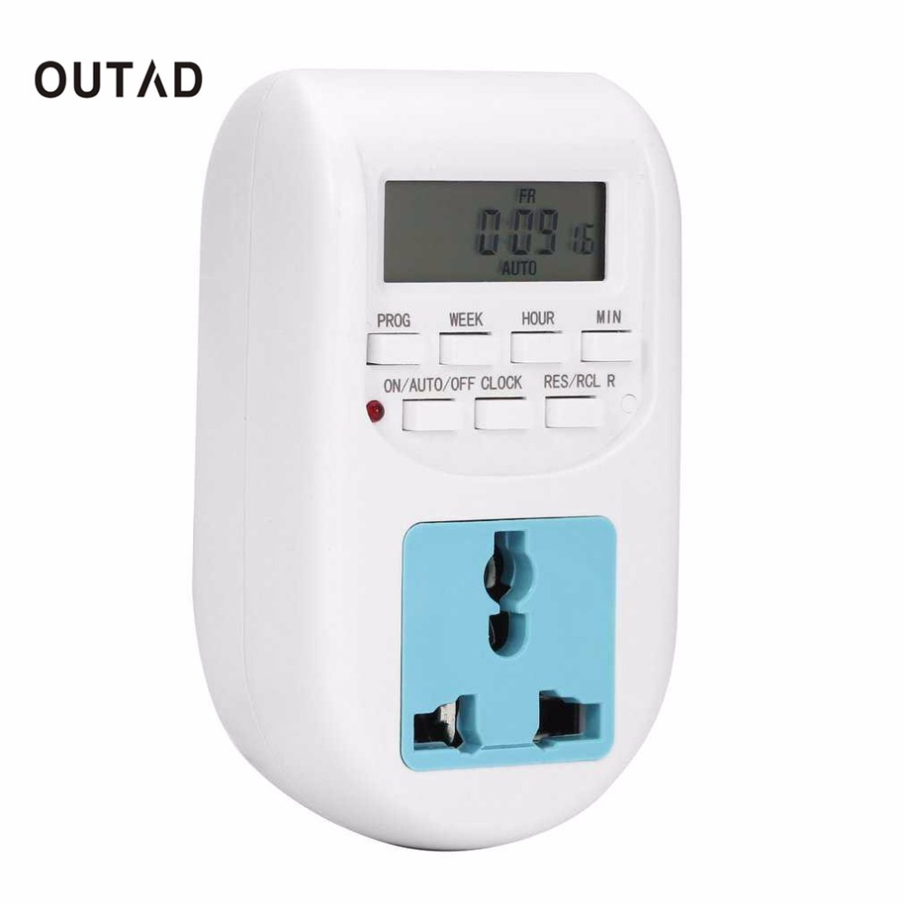 OUTAD EU Plug Energy Saving Electronic Timer Socket Programmable Digital Timer Household Appliances For Home Devices