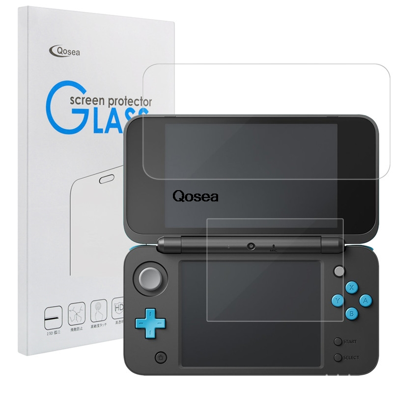 Qosea Tempered Glass For Nintend Switch 2DS XL 2DS LL 9H Ultra-thin Clear Protective Film Screen Protector Nintendo Switch 2DSXL