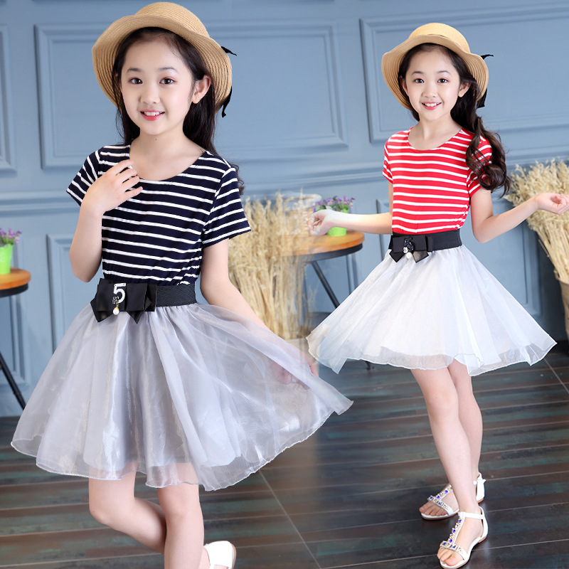Kids Dresses For Girls Summer Style Fashion Striped Short Sleeve Dress Good Quality Mesh Design Children Party Dress Dropship