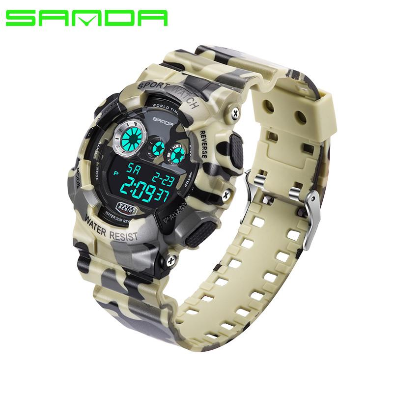 Men Sports Watch Analog Digital Quartz Wristwatches Luminous Camouflage SANDA S Shock Relojes LED Military Waterproof watches