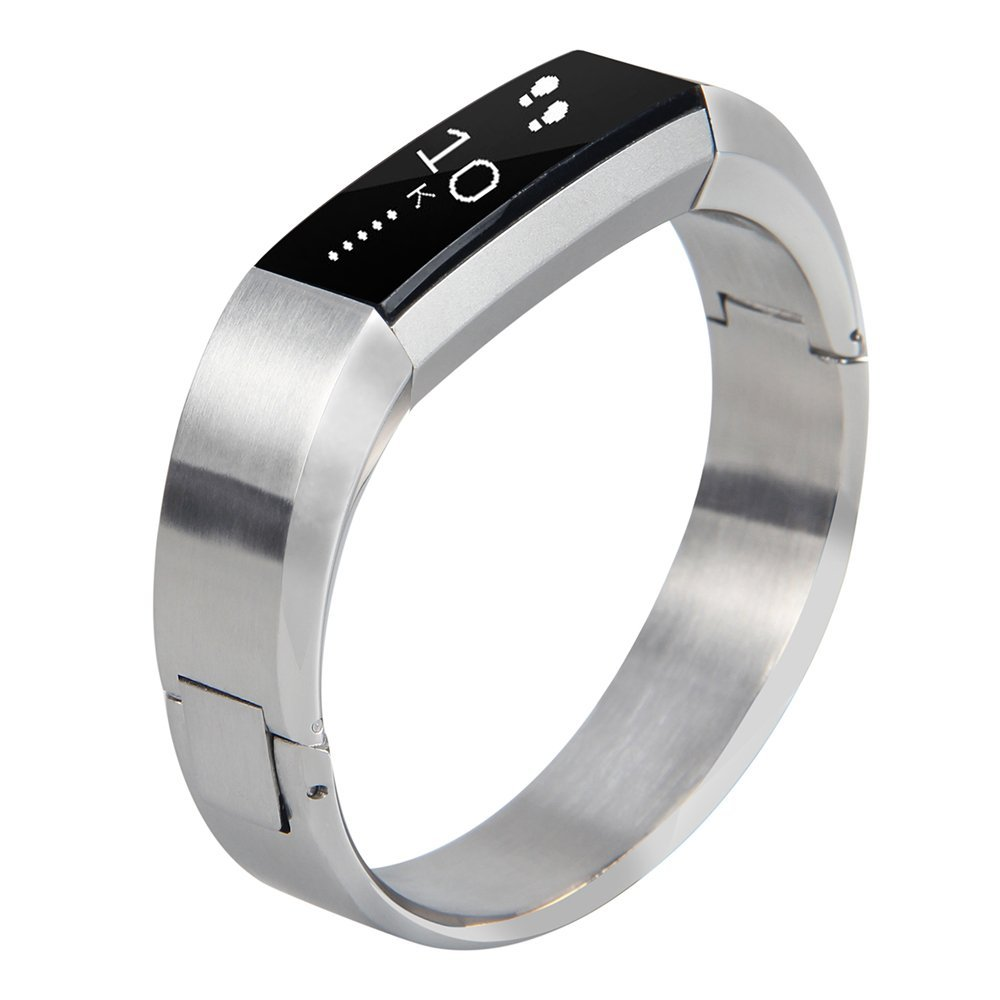 Silver Replacement wrist Band for Fitbit Alta Small Metal 316L Stainless Steel Bracelet Jewelry Bangle for Fitbit Alta