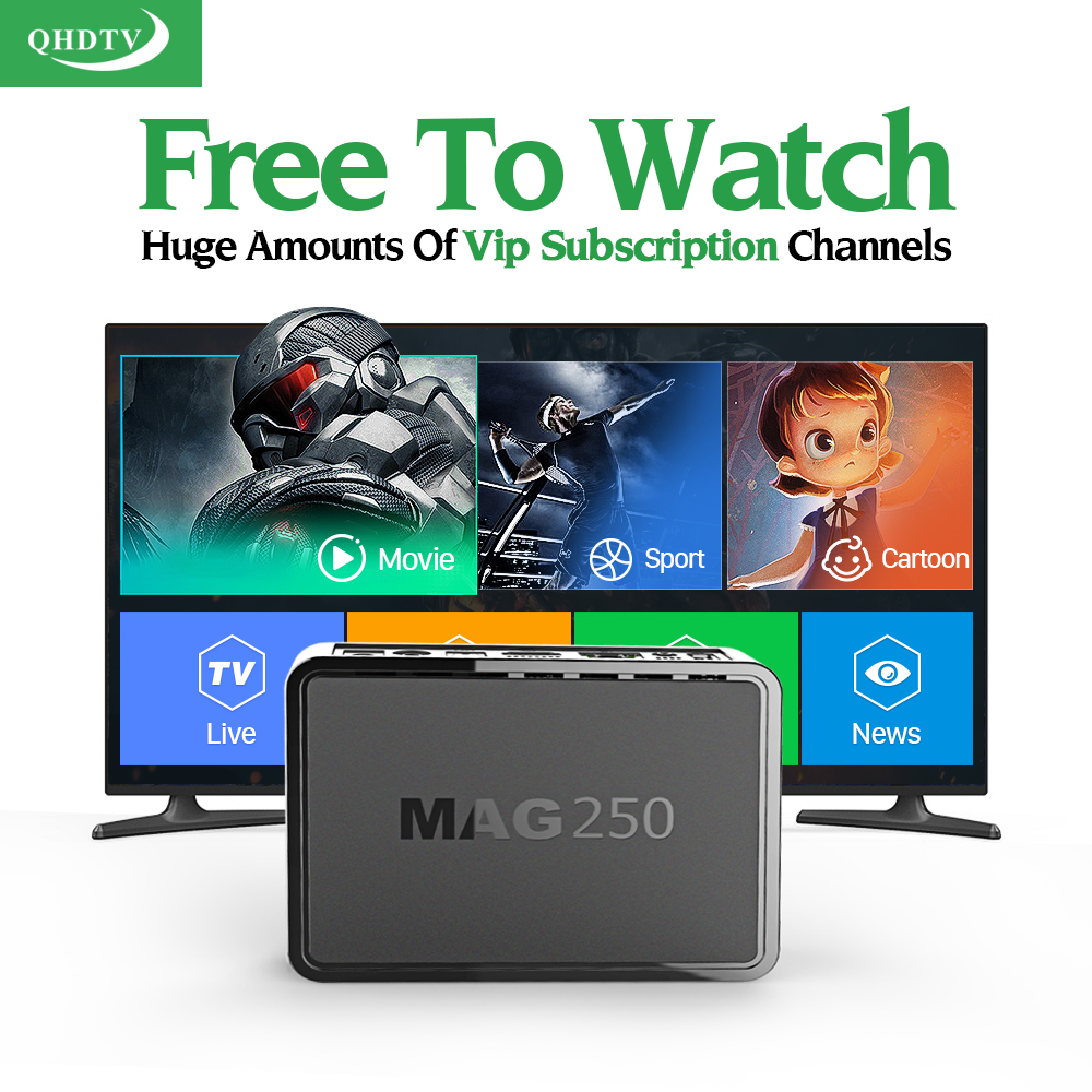HD IPTV STB MAG 250 Smart tv Set Top Box Linux Media Player + QHDTV 1 year IPTV Account subscription IPTV Europe Arabic French