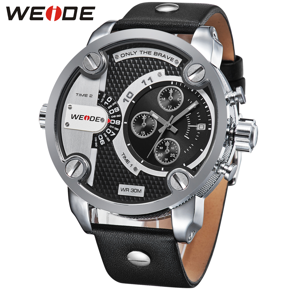 Weide sport men watch leather quartz luxury brand watch dress watch fashion casual electronic wrist watches camping role clock
