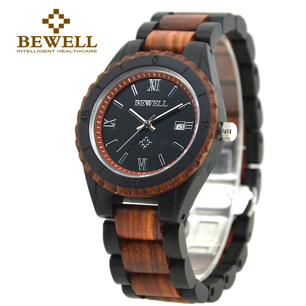 BEWELL 2016 New Arrival Men's Wood Watch Men Calendar Quartz Wooden Watch Brand Luxury Men s Sport Watches Montre Homme 128A