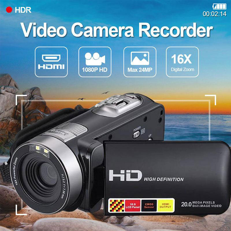Mini 3.0 inch LCD 1080P HD IR Night Vision Infrared Digital Cameras Video Recorder DV Consumer Camcorders Portable US Plug