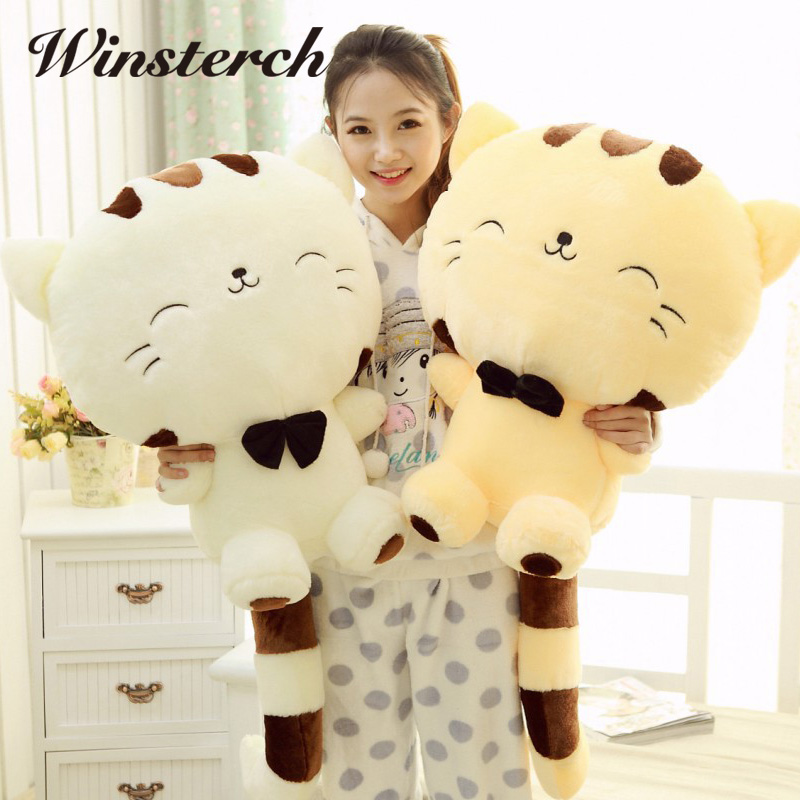 45CM/60CM Cute Big Face Smile Cat Plush Stuffed Toys Soft Animal Dolls Christmas Gifts for Kids Girls Animais Brinquedo WW311