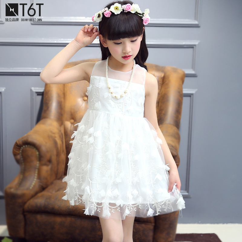 so beautiful good quality 2017 new summer Girls Kid Lace 3D petal dress comfortable cute baby Clothes Children Clothing 20w