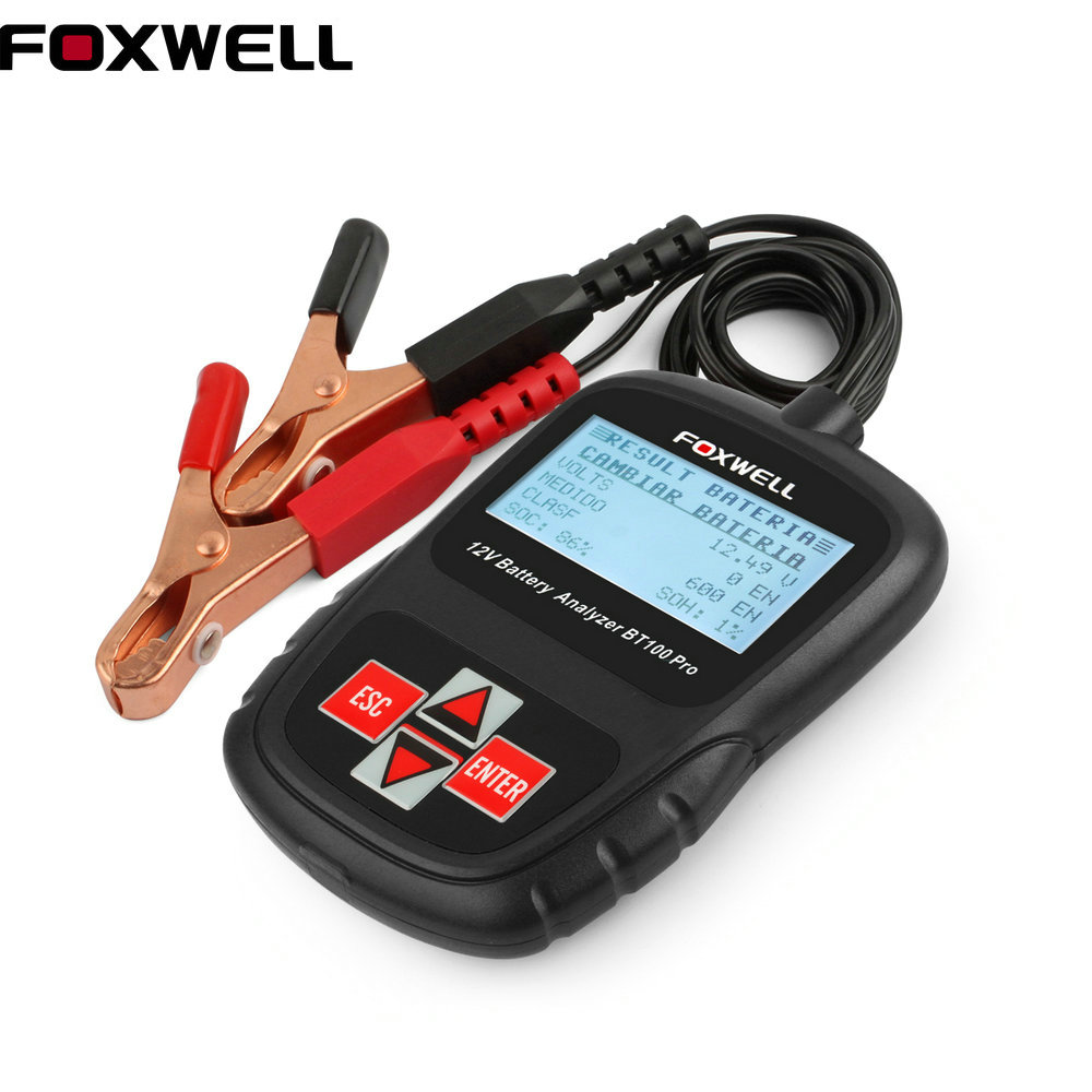 Digital Battery Tester FOXWELL BT100 Pro 12V Car Battery Tester For Flooded,AGM,GEL Battery Automotive Tools Battery Analyzer