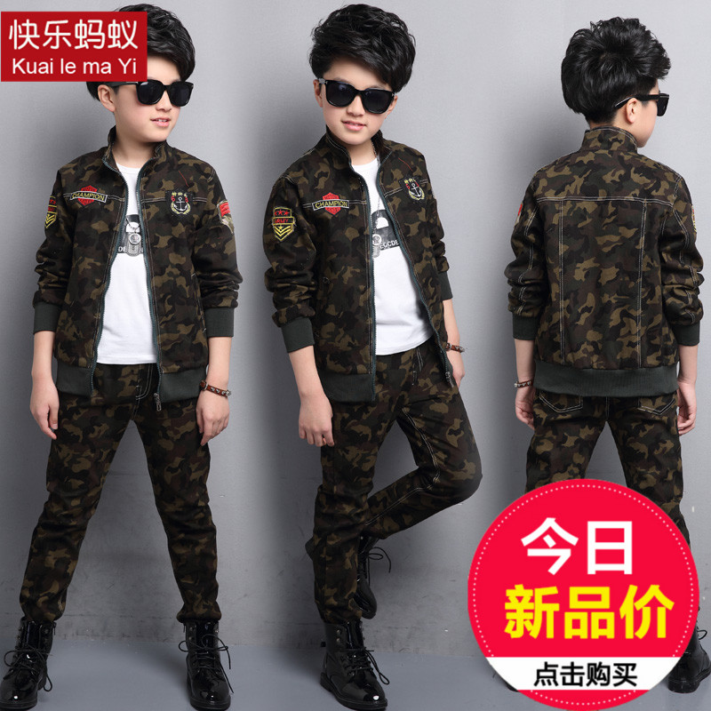 so good quality 2017 new summer boys Girls Kid Camouflage suit jacket + pants comfortable cute baby Clothes Children Clothing