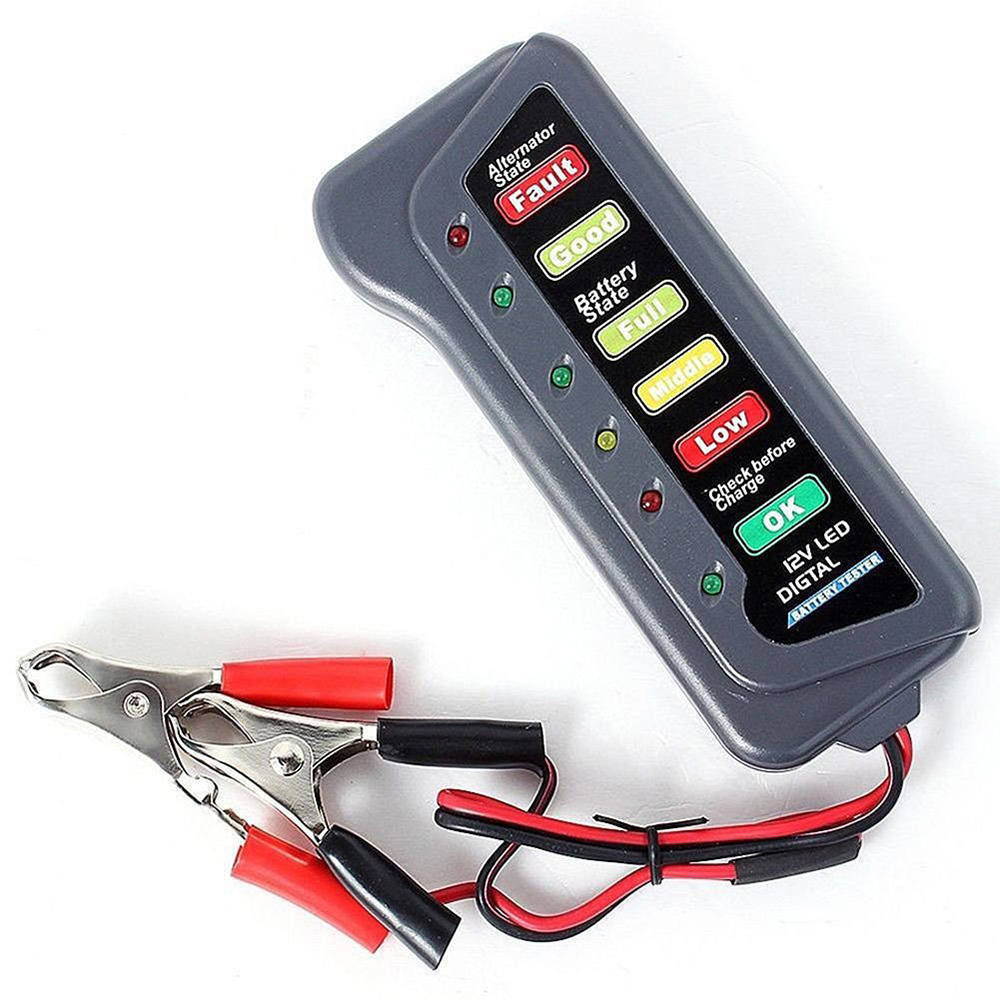 12V safety Digital Automotive Car Battery Tester Battery Charging Charging Voltage Starter Motor 6-LED Display Vehicle