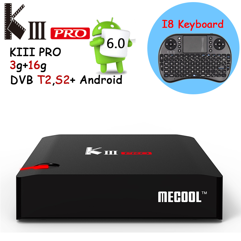 KIII PRO 3GB/16GB Android TV Box Amlogic S912 Octa core Android 6.0 Smart Tv Box 2.4G/5GHz WiFi 4K Set Top Box Free Keyboard