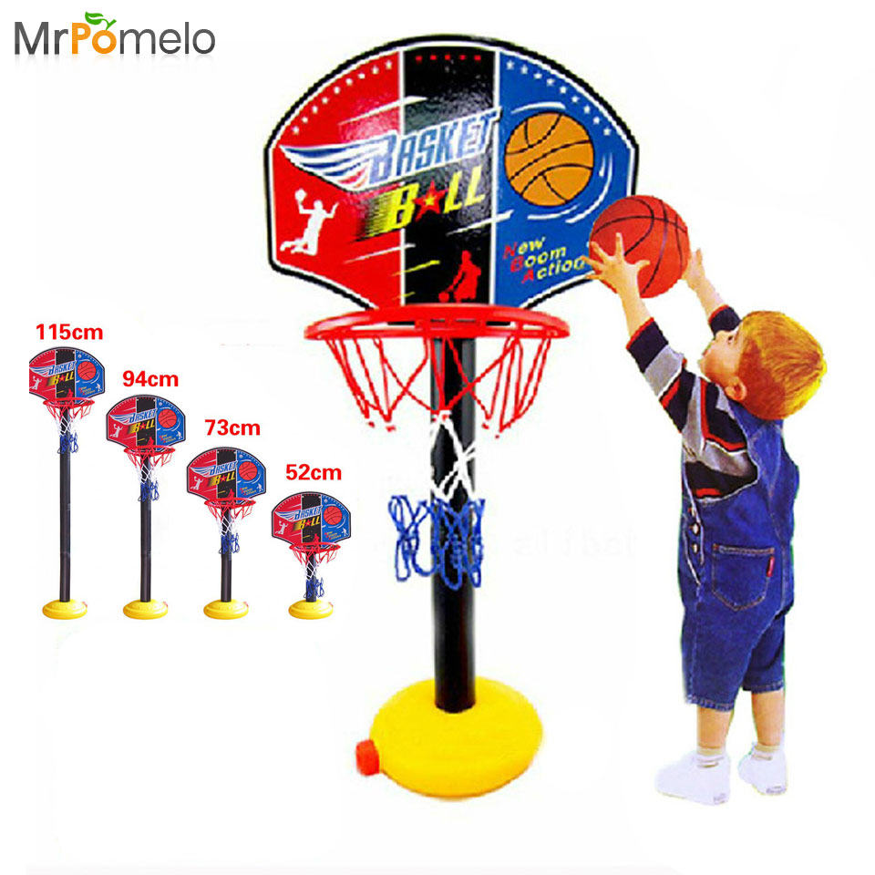 Kids Outdoor Sports Portable Basketball Toy Set with Stand Ball Pump Toddler Baby Indoor Toys for Child Original Birthday Gift