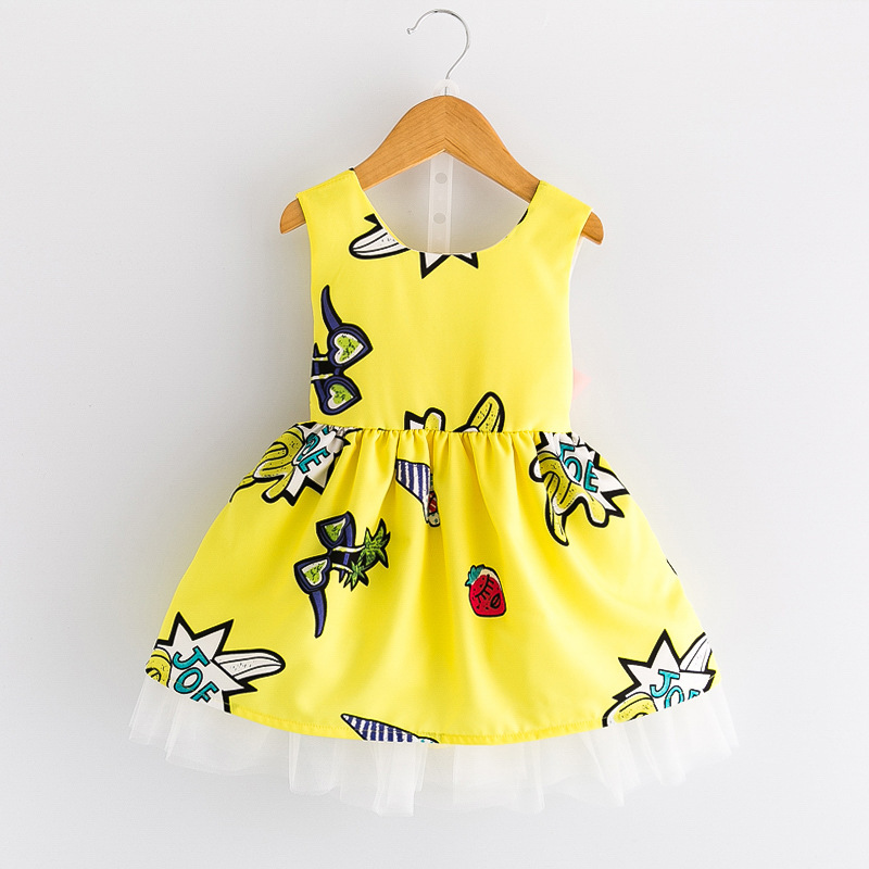 so beautiful good quality 2017 summer Girls Kid Cartoon graffiti halter dress comfortable cute baby Clothes Children Clothing