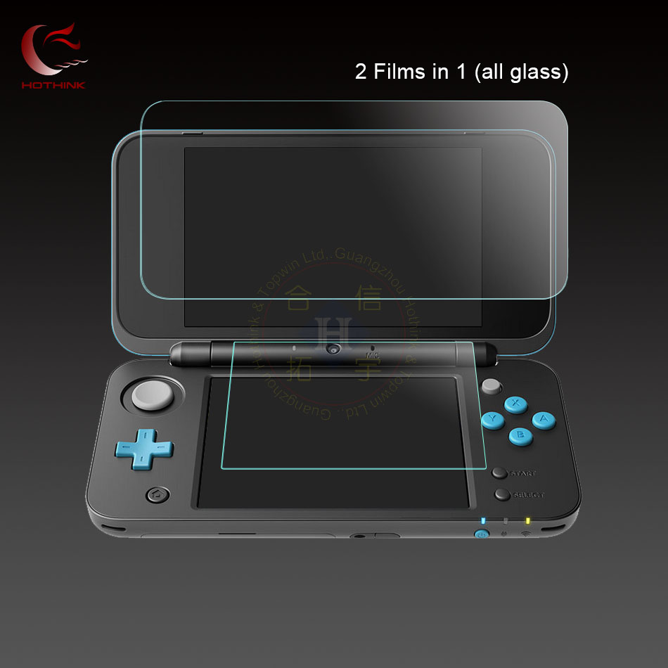 supper thin 9H 0.26mm Top Upper Glass Screen Protector Film + 0.18 mm Bottom Glass Film For Nintendo NEW 2DS XL / 2ds ll