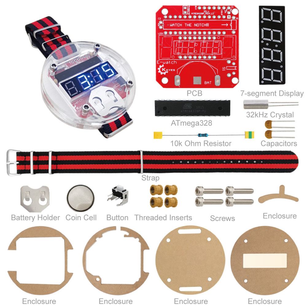 Free shipping! DIY electronic watch kit+Manual/Latest Big time wearable devices, programmable watch FOR ARDUINO