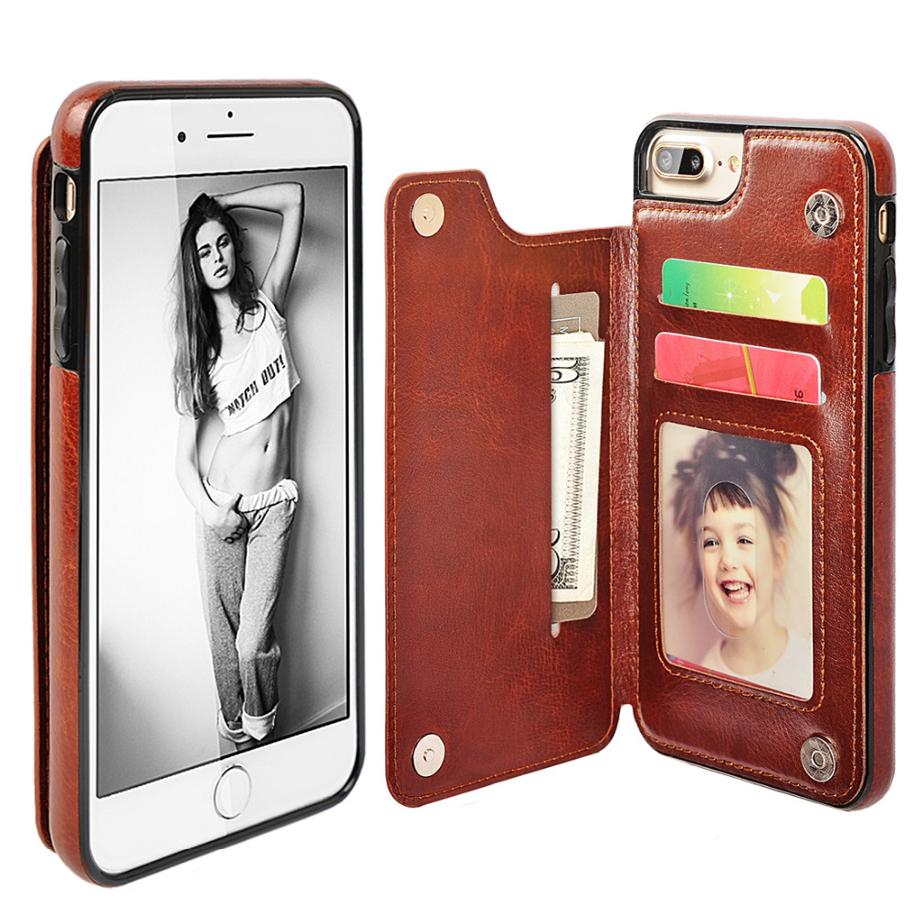 Flip Case For iPhone 6 Case Luxury Stand PU Leather Card Slot Holder TPU Silicone Cover For iPhone 6S 6 Plus 6S Plus Case Wallet