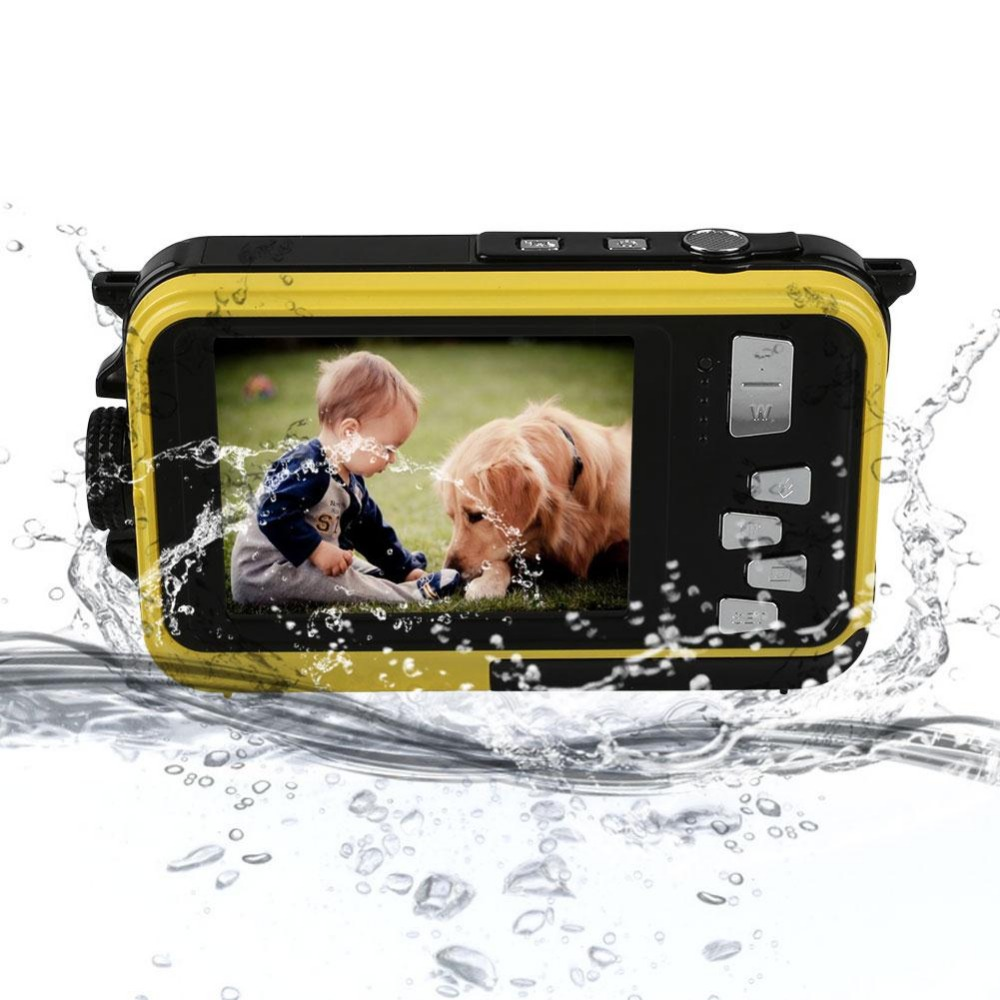 "FHD 1080P 24MP Dual Display Screen 2.7""/1.8"" 5M Waterproof Digital Camera Video Recorder Cam +US plug Adapter Portable Mini Cam"