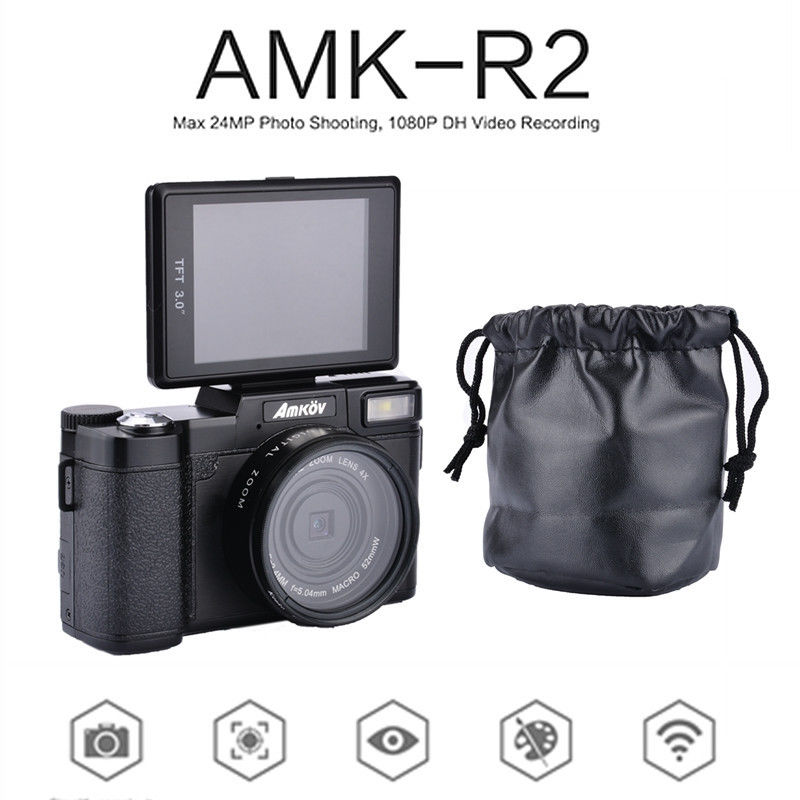 "AMKOV AMK-R2 3.0"" TFT LCD 1080P HD 24MP Digital SLR DV Recorder Camera+Wide-angle Lens Free shipping"