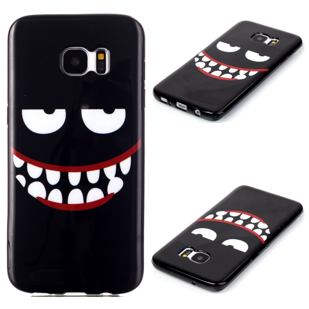 2016 New Arrival Black Luxury Cartoon Case for Samsung Galaxy S7 Edge Case Silicon Mobile Cell Phone Cases Cover Accessories