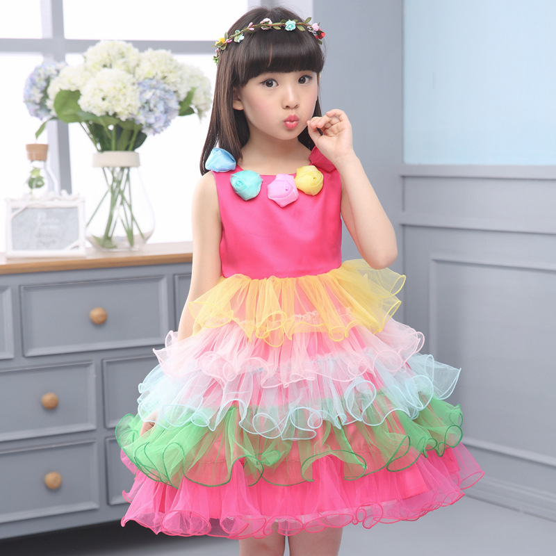 so beautiful good quality 2017 summer boys Girls Kid Rainbow Ponce Princess Dress comfortable baby Clothes Children Clothing