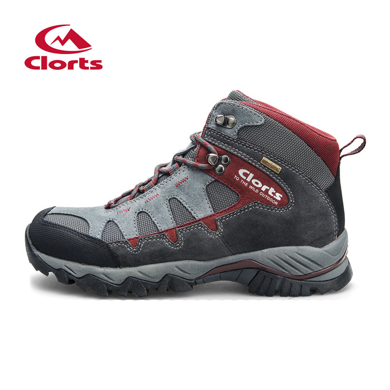 2016 Clorts Men Hiking Shoes HKM-823A/B Mid-cut Cow Suede Hiking Boots Rubber Sport Trekking Shoes for Men