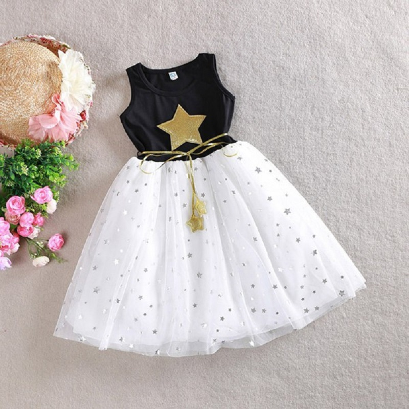 2017 Kids Girls Star Dress Children Girl Birthday Party Dress Cute Baby Fancy Princess Bow Clothes Good Gift for Girl q4