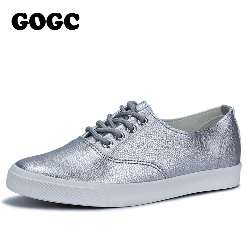 GOGC 2017 Flat Shoes Women Breathable Women Sneakers Footwear High Quality Silver Black White Women Flats Casual Shoes Slipony