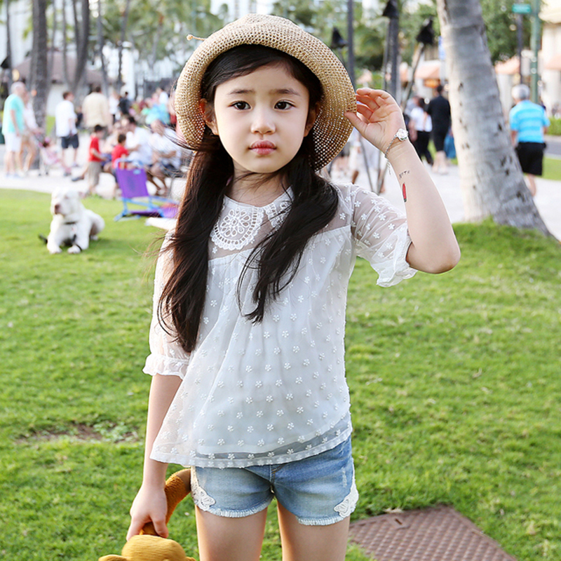 2016 summer new Korean children's clothing lace sleeve kids t-shirt cotton thin good quality girls dot blouse white shirt