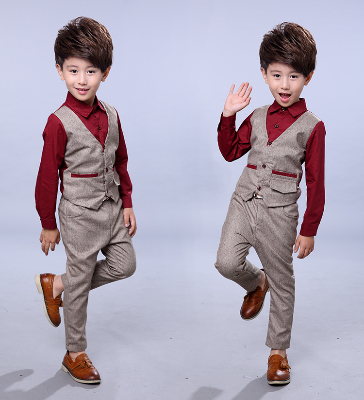 Good Quality 2 To 7 Years Boys Suit Clothing Set For Boys Long Sleeve Shirt and Pants 2 Pieces Kids Clothes Formal Suit Wine Red
