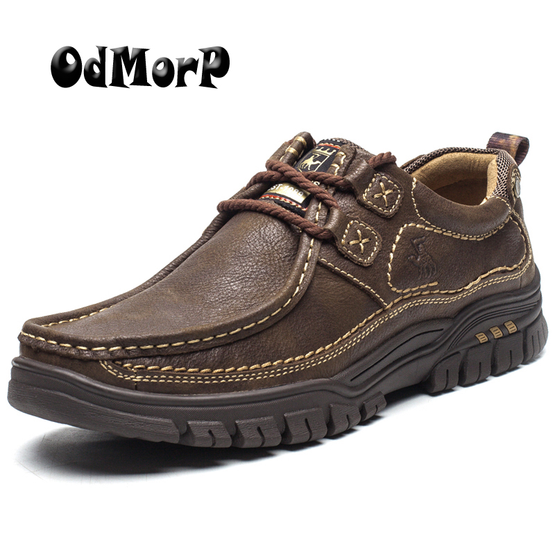 Men Shoes Genuine Leather Shoes Casual High Quality Comfort Business Man Footwear Nonslip Rubber Brown Khaki Size 38-44