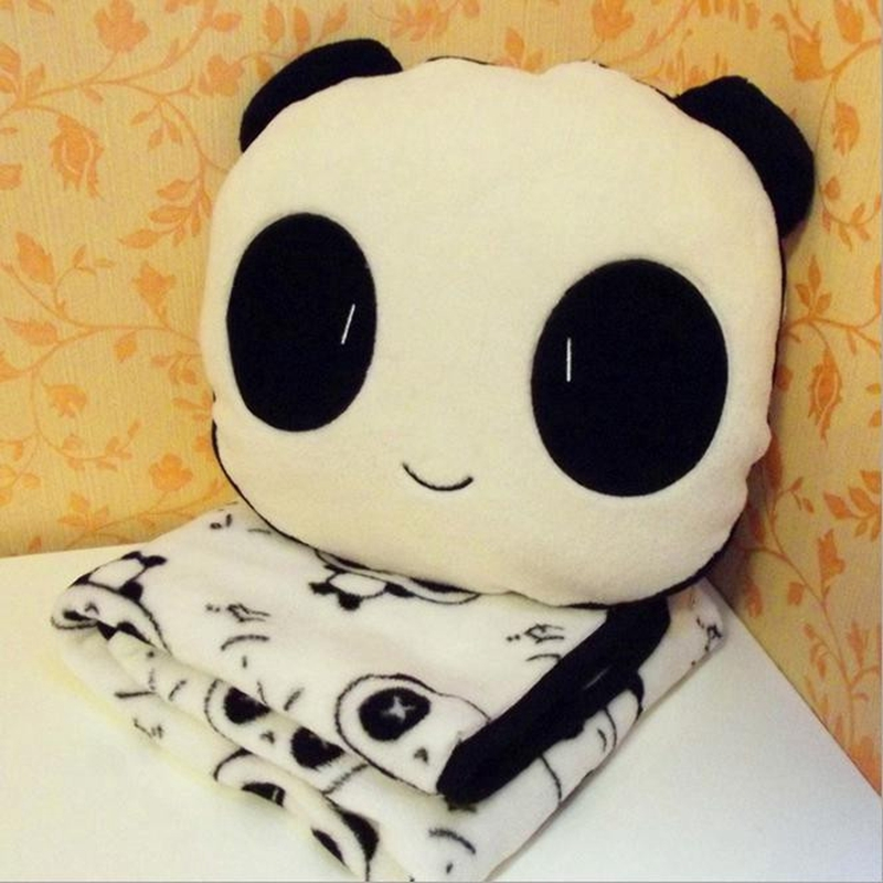 1 set 30x30cm Panda Plush Toys Stuffed Panda Dolls Soft Pillows and 90x75cm Blanket kids toys Good Quality