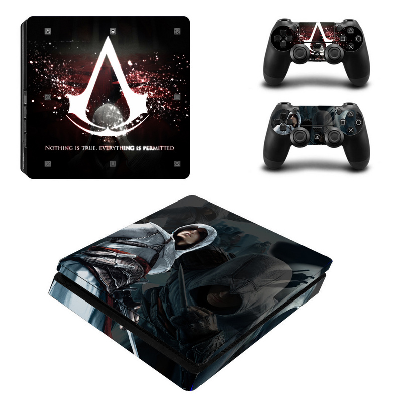 Assassin's Creed Vinyl Decal For PS4 Slim Skin Stickers Vinyl Wrap for Sony PlayStation 4 Slim Console and 2 Controllers Skins