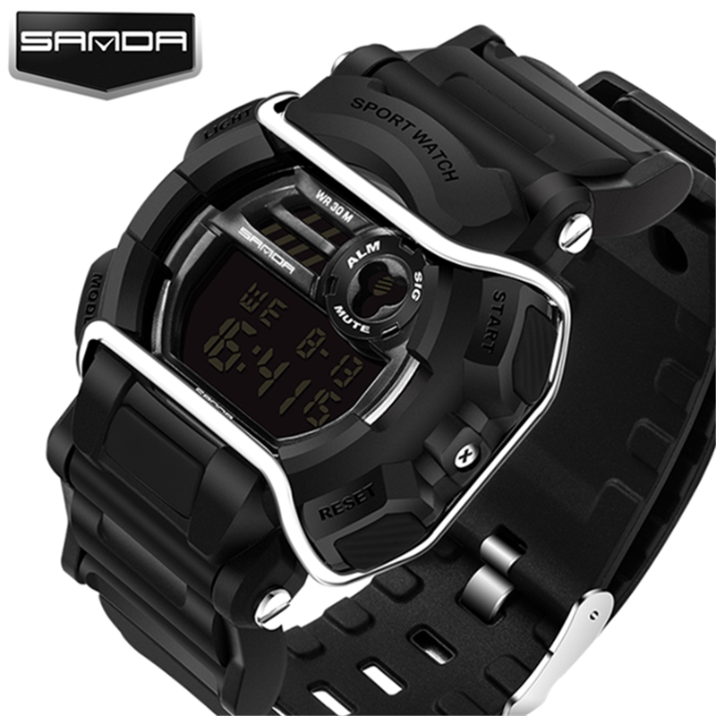 2017 new design luxury brand Sanda digital watch male military sports watch men's watch S Shock Clock Relogio Masculino