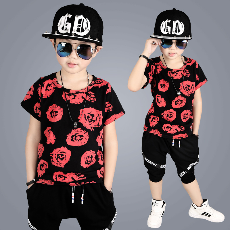 Boys Summer Clothes Set For 4-9 Years old Fashion Design Children Suit Good Quality Kids Boy Clothing Sets 5-10 y A385