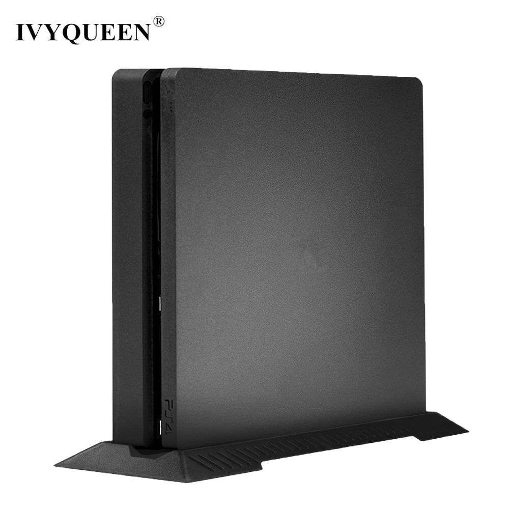 IVYUEEN Anti-Slip Vertical Stand Dock Mount Cradle Holder For Sony PlayStation 4 PS4 Slim Console Protector - Black / White