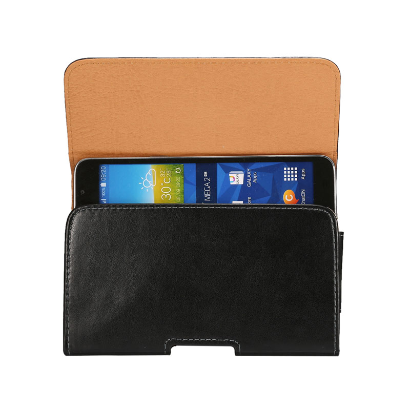 6.3 inch Leather Pouch Men Belt Clip Bag for Samsung Galaxy MEGA/MEGA 2/I9200/I9208 Business Phone Case Cell Phone Accessory