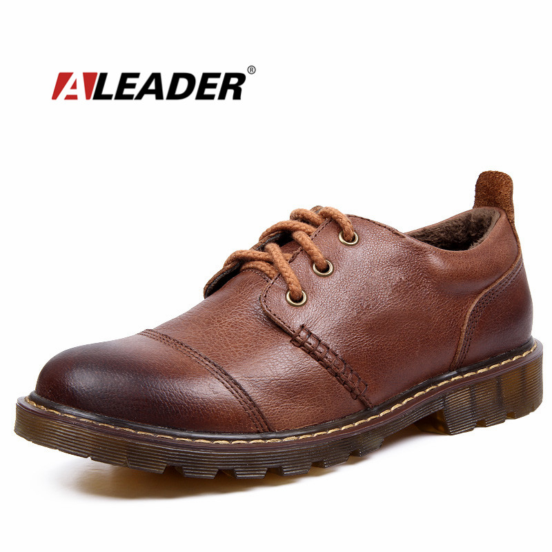 Winter Men Warm Shoes 2017 Casual Men's Genuine Leather Oxfords Shoes Fur Waterproof Work Shoes Mens Snkeaers sapatos masculino
