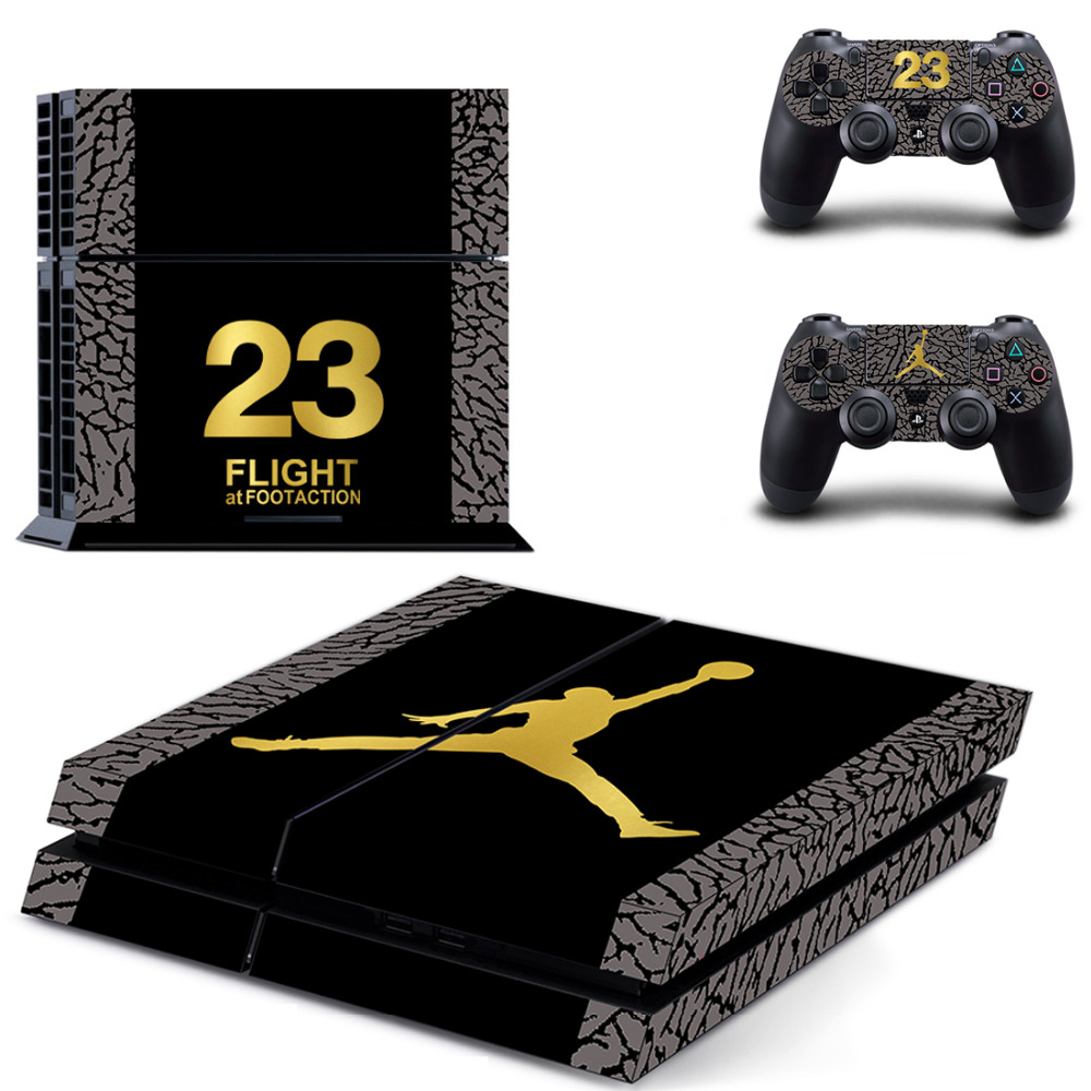 Classical Jordan Protector Vinyl Sticker For PS4 Console Protector Film And 2pcs Controller Skins For PS4