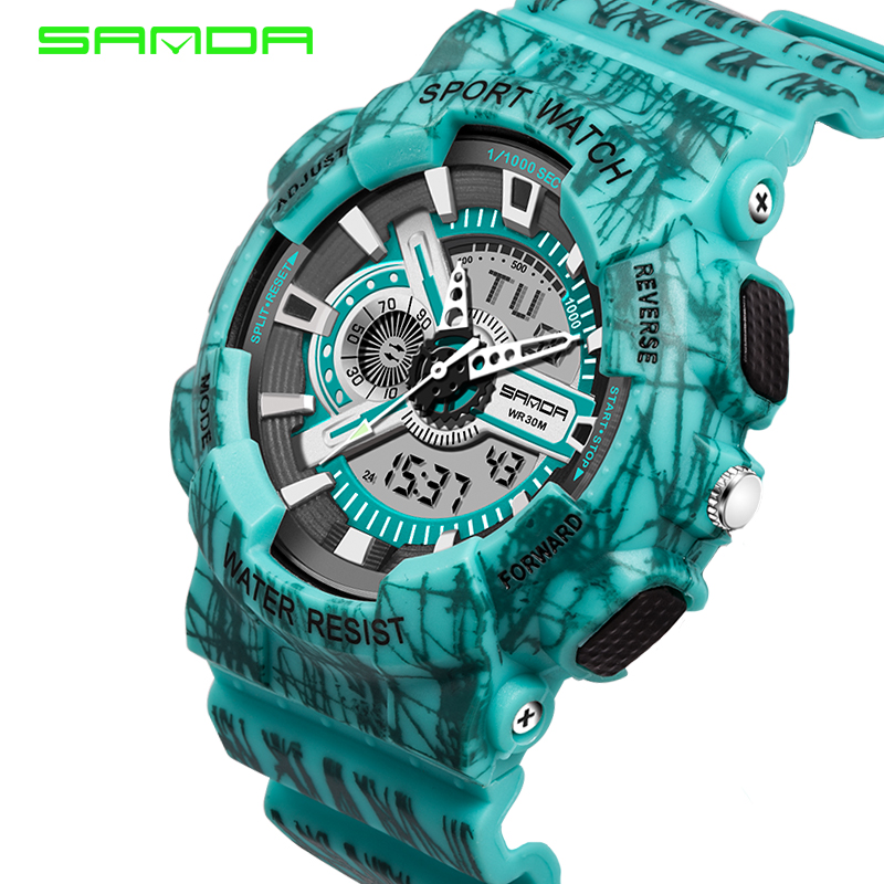 2016 Quartz Digital Camo Watch Men Dual Time Man Sports Watches Men SANDA S Shock Military Army Reloj Hombre LED Wristwatches