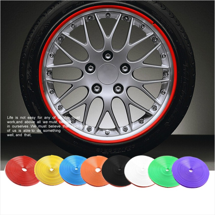 8 M Car Motorcycle Wheel Hub Tire Sticker Car Decorative Strip Wheel Rim Protection Care Covers Car Accessories Car Styling