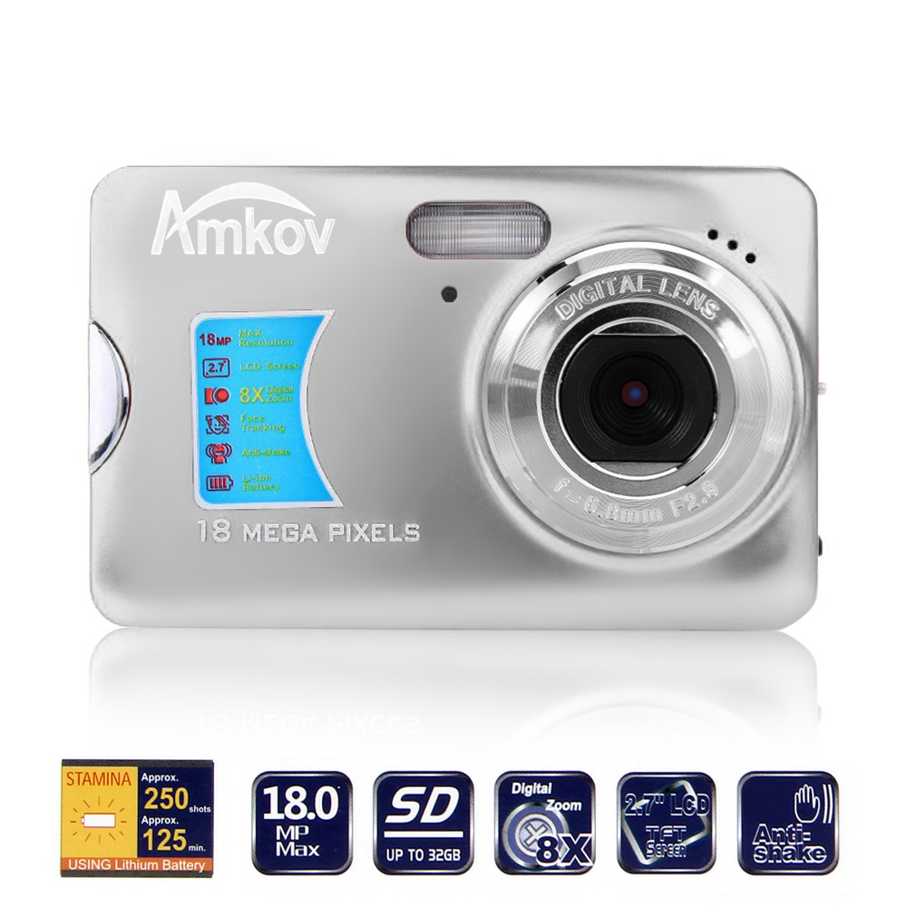 "AMKOV 18.0MP Camera 2.7"" TFT LCD Monitor 8X Digital Zoom Take Photo HD Video Face detection Digital Camera Anti-shake EIS"