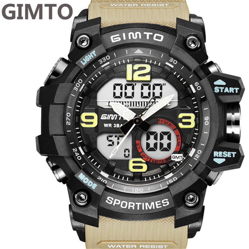 GIMTO New Fashion Male Waterproof Sports Watches Shock Luxury Digital Electronics Watch Men Reloj Masculinos