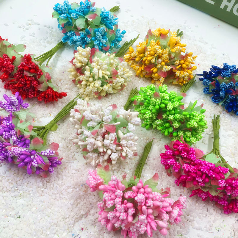 Artificial mini bubble stamens berries bouquets of flowers/DIY wedding brooches home garden decoration 10 PCS (3 cm/flower)