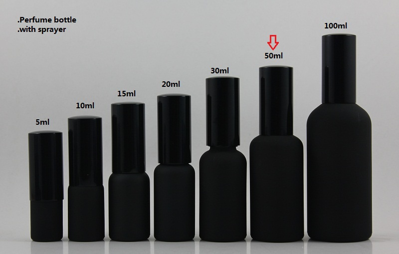 wholesale 50pcs 50ml black frosted travel refillable perfume bottle with black atomiser spray/mist, 50ml glass perfume packing