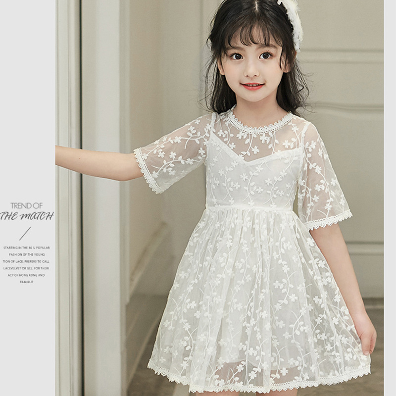 so beautiful good quality 2017 new summer Girls Kid Cotton lace princess dress comfortable cute baby Clothes Children Clothing
