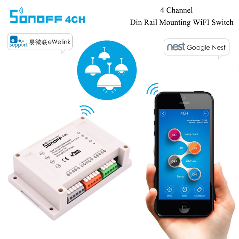 Sonoff 4CH - 4 Channel Din Rail Mounting WiFi Timer Switch 90~250V For Smart Home Appliance IOS Android Remote Turn ON or OFF