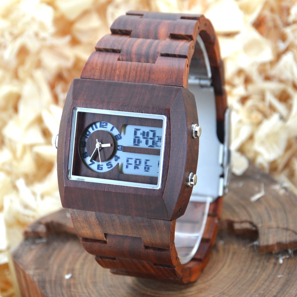 BEWELL Wood Watch Men Multifunctional electronics mens watches top brand luxury relogio masculino No LOGO horloges mannen 021A