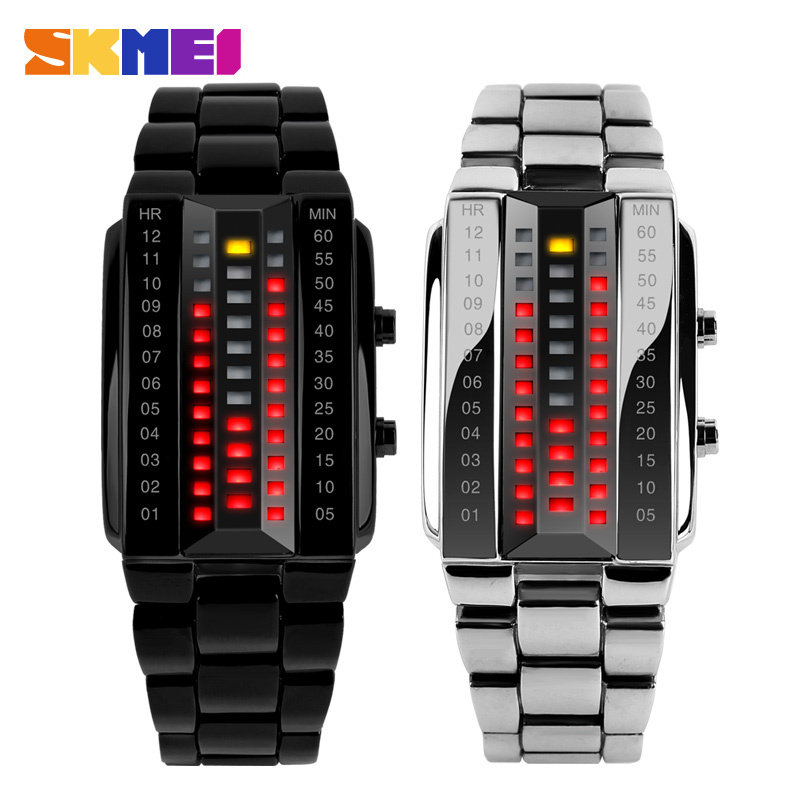Luxury Lovers' Wristwatch Waterproof Men Women Stainless Steel Red Binary Luminous LED Electronic Display Sport Watches Fashion